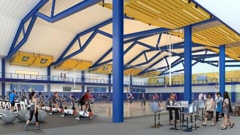 croquis du projet de centre sportif proposé à l'Université Lakehead.