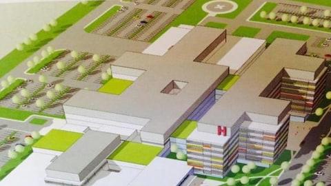 Croquis du futur hôpital régional de Windsor.