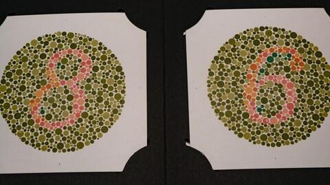 Deux cercles contenant des points de différentes couleurs à l'intérieur desquels sont inscrits des chiffres que seules les personnes non-daltoniennes peuvent voir correctement.