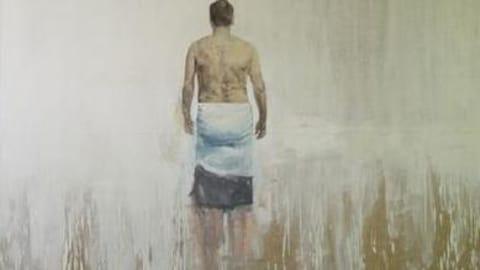 Toile montrant un homme de dos portant seulement une serviette.