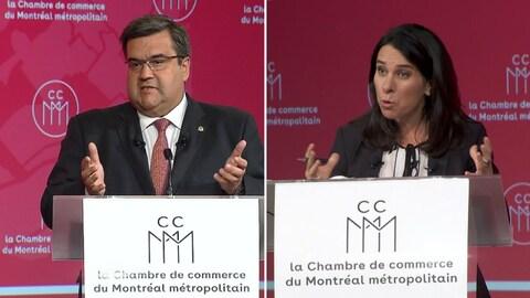 Denis Coderre et Valérie Plante à leurs podiums respectifs lors du débat organisé par la Chambre de commerce du Montréal métropolitain au Centre Sheraton, à Montréal.