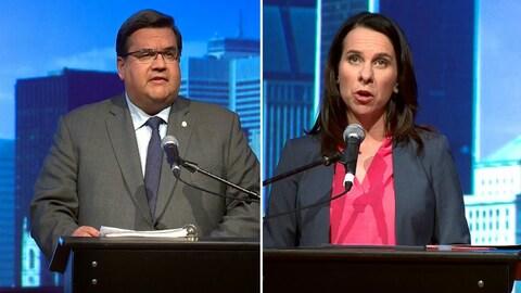 Denis Coderre et Valérie Plante, principaux candidats à la mairie de Montréal, lors du débat en anglais à l'Université Concordia.