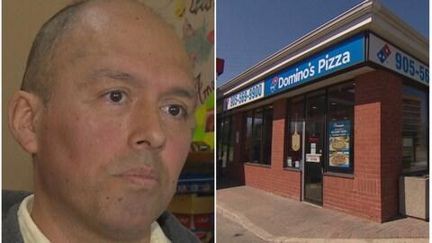 Gros plan du visage d'un homme à côté de la photo de la façade de la pizzeria Domino's où il travaillait.