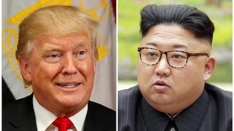 Une combinaison photo de Donald Trump et Kim Jong-un