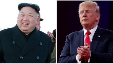 Kim Jong-un et Donald Trump sont photographiés séparément.