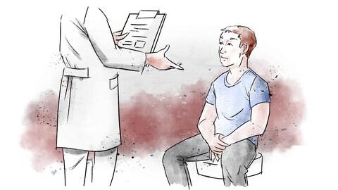 Illustration d'un homme qui apprend qu'il est atteint du VIH.