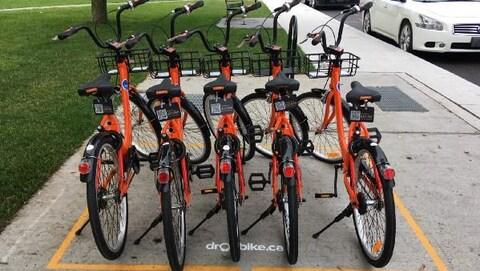 Cinq vélos de Dropbike prêts garés dans une zone délimitée par une ligne jaune sont prêts à être loués.