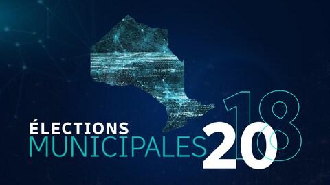 Logo des élections avec la carte de l'Ontario sur fond bleu