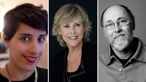 Montage des photos des poètes Elkahna Talbi (Queen Ka), Hélène Dorion et Jean Sioui