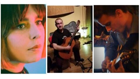 Gros plan sur Émilie Lebel, et les photos de Thomas Chevalier et de Philippe Gabriel jouant de la guitare.