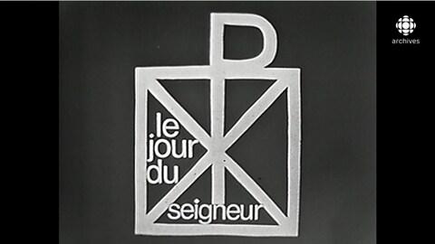 Titre «le jour du seigneur» à travers un encadré et des symboles liés au catéchisme