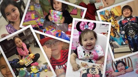 Une mosaïque de photos des enfants en train de déballer leurs cadeaux reçus dans le cadre du Northern Birthday Box Project.