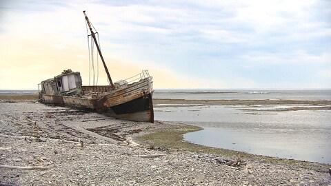 Une épave échouée sur l'île d'Anticosti