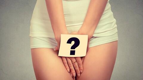 femme avec un point d'interrogation sur la région du pubis