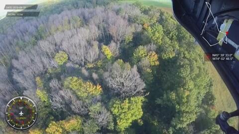 Vue aérienne de l'érablière de la famille Jetté à Mirabel
