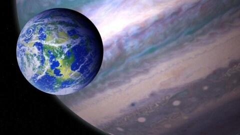 Représentation artistique d'une lune autour d'une exoplanète de type géante gazeuse.