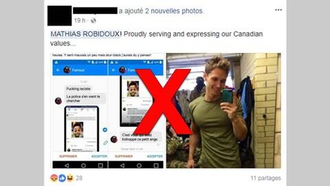 La publication affirme en anglais que ce Mathias Robidoux a écrit des commentaires racistes.