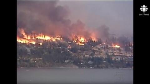 Des feux de forêt dévastent des maisons sur le bord d'une rivière.