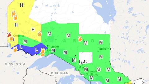 Carte montrant l'indice d'inflammabilité en Ontario.