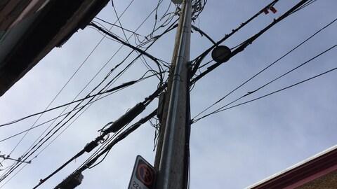 Les fils électriques abondent dans le quartier Saint-Jean-Baptiste.