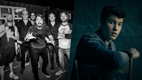 Montage d'une photo du groupe des Foo Fighters et de Shawn Mendes.