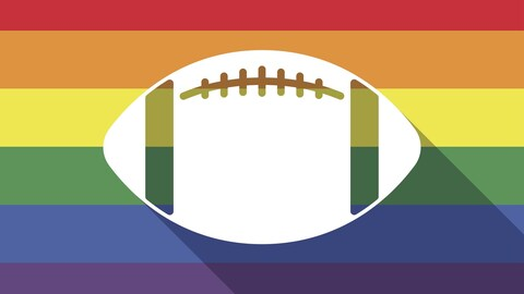 Shadow long drapeau de la fierté gay avec un ballon de football américain