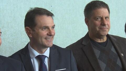François Bonnardel, ministre responsable de l'Estrie, et Gilles Bélanger, député caquiste d'Orford