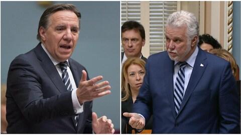 Le chef de la Coalition avenir Québec, François Legault, et le chef du Parti libéral du Québec, Philippe Couillard