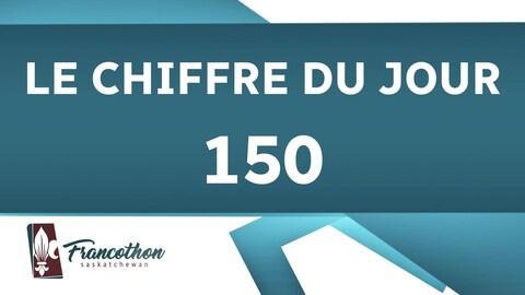 Un graphique présentant le chiffre du jour, 150, et le logo du Francothon.