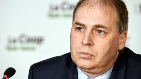 Le président de la Coop fédérée, Ghislain Gervais, est fier des résultats dévoilés aux médias lors de l'assemblée générale du 22 février 2018.