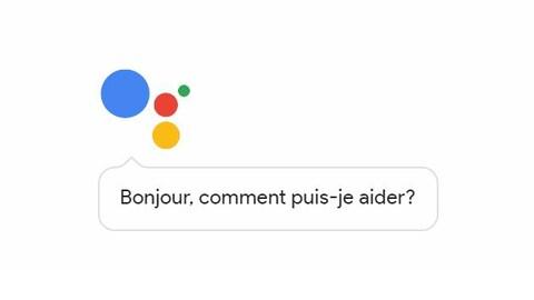 Une capture d'écran montrant le logo de l'assistant Google, composé de quatre cercles colorés, et une bulle dans laquelle on peut lire : « Bonjour, comment puis-je aider? »