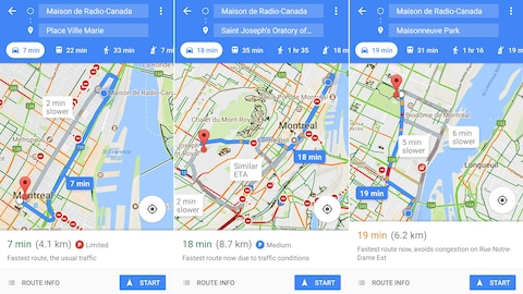 Des captures d'écran de l'application Google Maps.