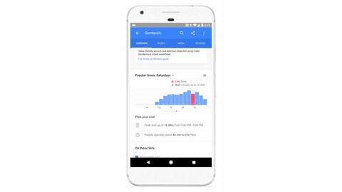 Une photo montrant une carte de résultat de Google d'un restaurant, dont les heures d'affluence sont mise en valeur.