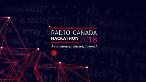 Une capture d'écran montrant le logo du Hackathon 2018 de Radio-Canada, accompagné du slogan « À vos marques, hackez, innovez! »