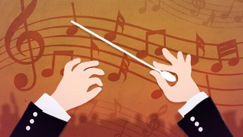Infographie présentant deux mains, l'une tenant une baguette, sur un fond orangé où l'on voit des notes de musique.