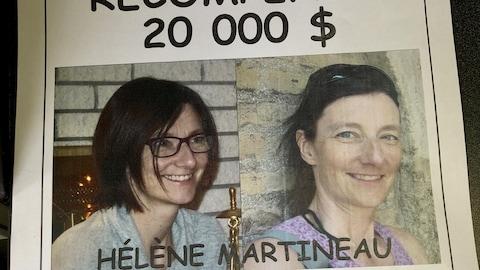 L'affiche offrant une récompense pour retrouver Hélène Martineau