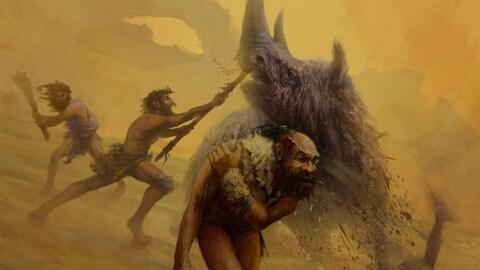 Représentation artistique d'hommes de Néandertal chassant un rhinocéros laineux.
