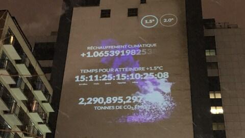 Données sur le réchauffement climatique projetées sur un édifice : réchauffement climatique, temps pour atteindre + 1,5 °C, tonnes de CO2 émises
