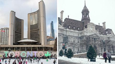 Les deux hôtels de ville en hiver