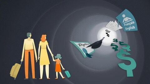Dessin illustrant une famille d'immigrants, l'éducation, la langue, l'emploi
