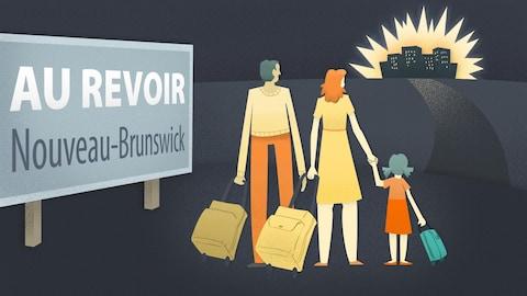 Image d'une famille d'immigrants quittant le Nouveau-Brunswick pour déménager dans une grande ville.