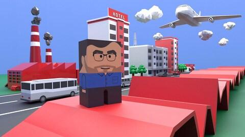 Un bonhomme se tient sur une courbe en 3 dimensions devant une illustration d'une route, autobus, avion, hôtel et usine