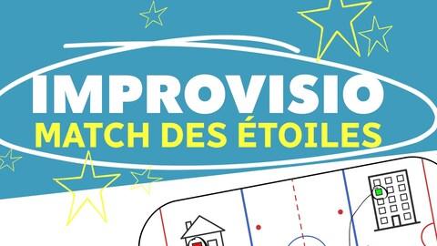 IMPROVISIO: le match des étoiles - le dessin d'une patinoire avec le logo du match des étoiles.