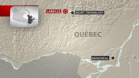 Une carte montrant la position géographique de Labelle par rapport à Montréal