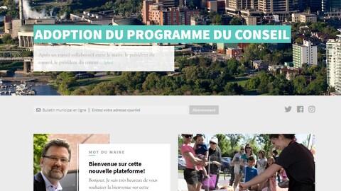 La page web intitulée Vivre à Gatineau comporte une manchette sur l'adoption du programme du conseil municipal et un mot du maire.