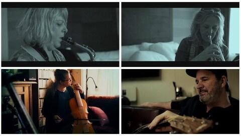 Collage de photos des 4 artistes avec leur instrument