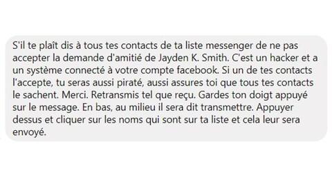 Capture d'écran d'un faux message viral sur Facebook mettant en garde contre un supposé pirate informatique nommé Jayden K. Smith.