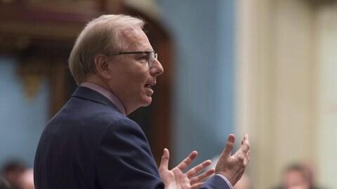 Le chef du Parti québécois, Jean-François Lisée, lors de la période de questions le 16 mai 2018.
