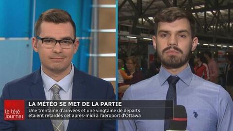 Pendant que Jérôme animait le Téléjournal d'Ottawa-Gatineau, son frère jumeau, Jérémie, était en direct sur le terrain.