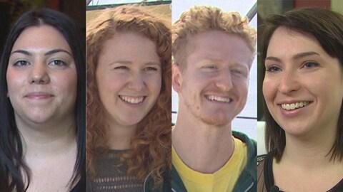 Le visage de quatre jeunes qui sourient à la caméra.